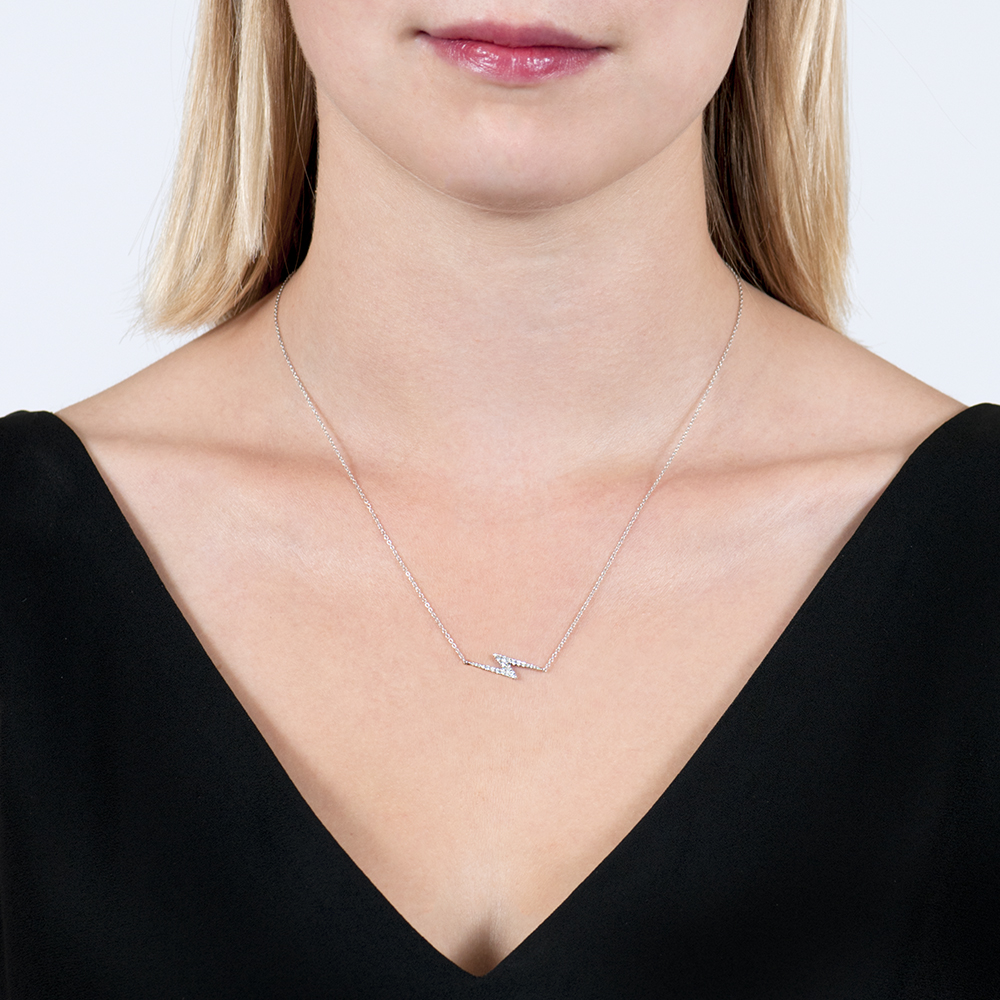 White Gold Diamond Zig Zag Geo Pendant