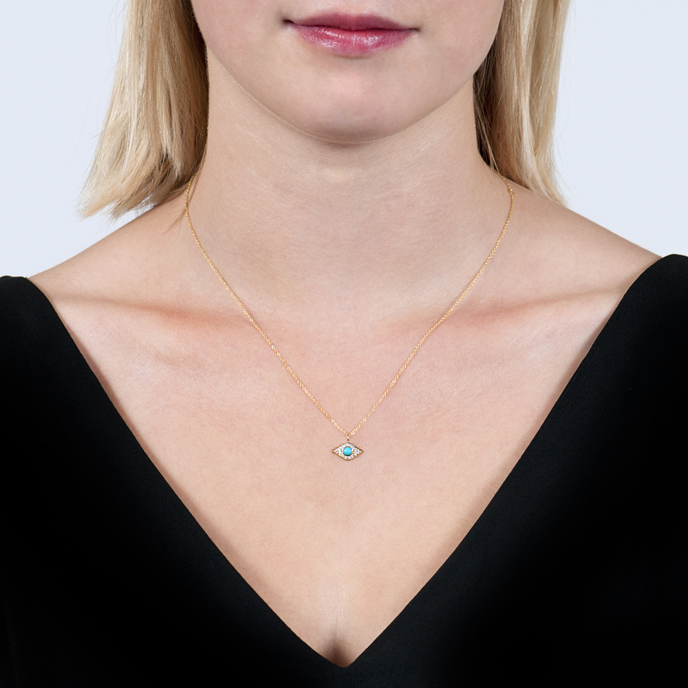 Enchanted Evil Eye Yellow Gold Diamond and Turquoise Pendant