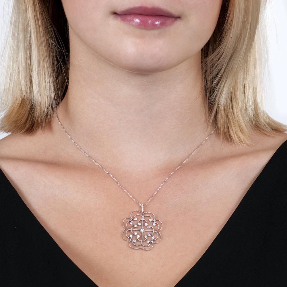 White Gold Brilliant Cut Diamond Large Lattice Pendant