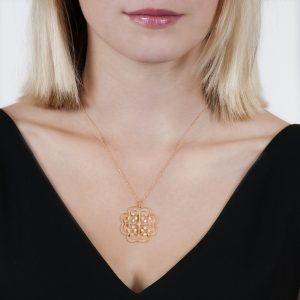 Yellow Gold Brilliant Cut Diamond Large Lattice Pendant