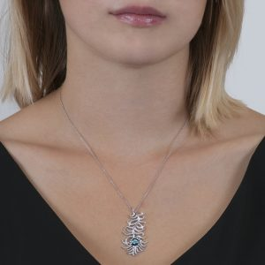 Zircon and Diamond Stunning Peacock Pendant
