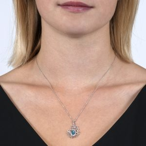White Gold Blue Zircon Peacock Pendant