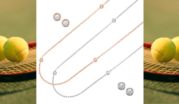 Rose gold and white gold diamond Raindrop necklaces and matching stud earrings