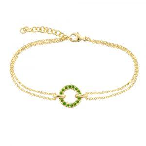 Yellow gold tsavorite garnet bracelet