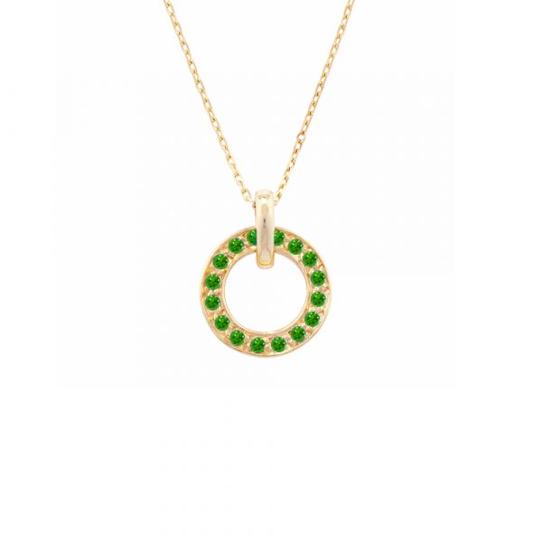 Yellow gold tsavorite garnet necklace