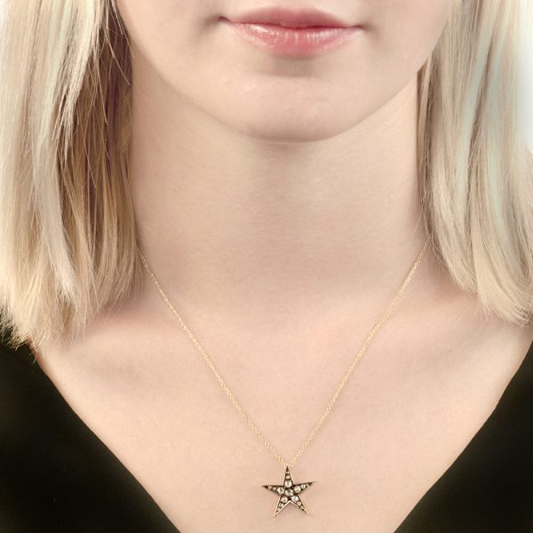 Yellow gold rose cut diamond Starry Night star pendant