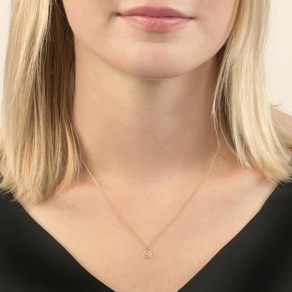 Rose gold diamond circle Meridian pendant