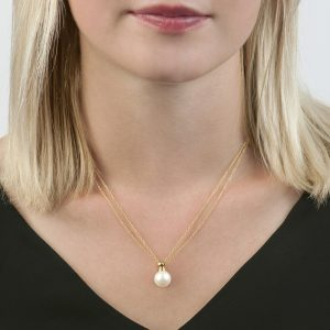 Yellow gold cultured freshwater pearl pendant