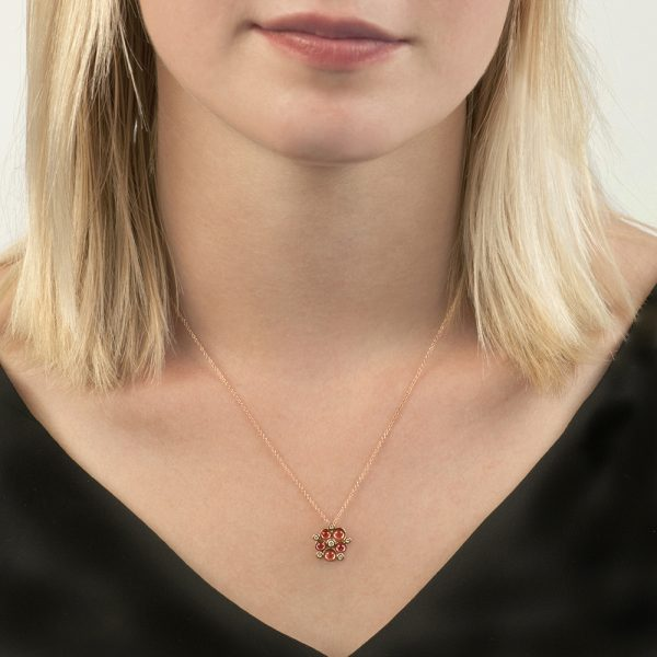 Rose gold diamond pink tourmaline Bubble pendant