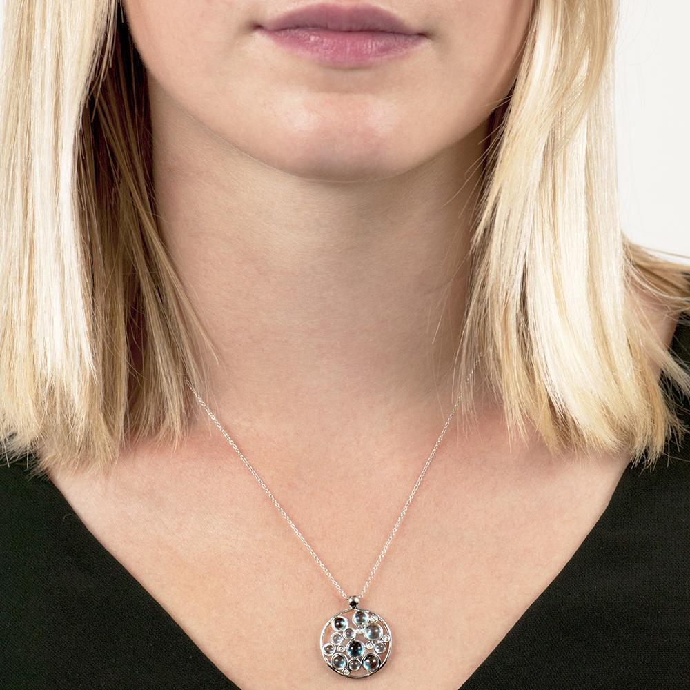 White gold diamond blue topaz Bubble cluster pendant