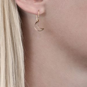 Rose gold moon drop earrings