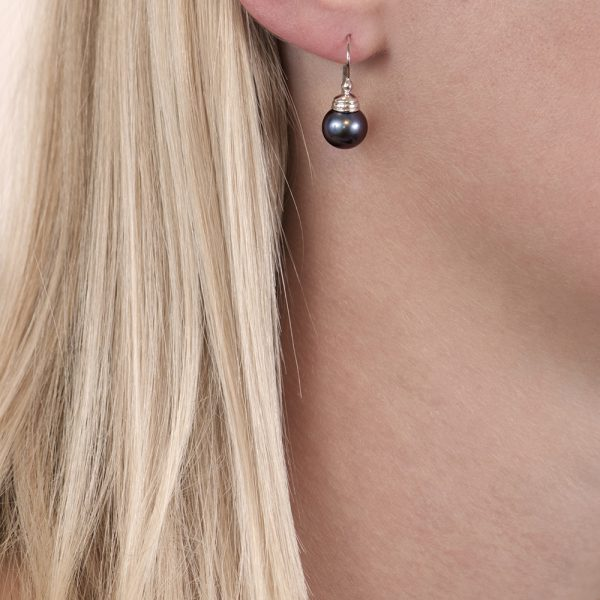 White gold grey pearl drop earrings
