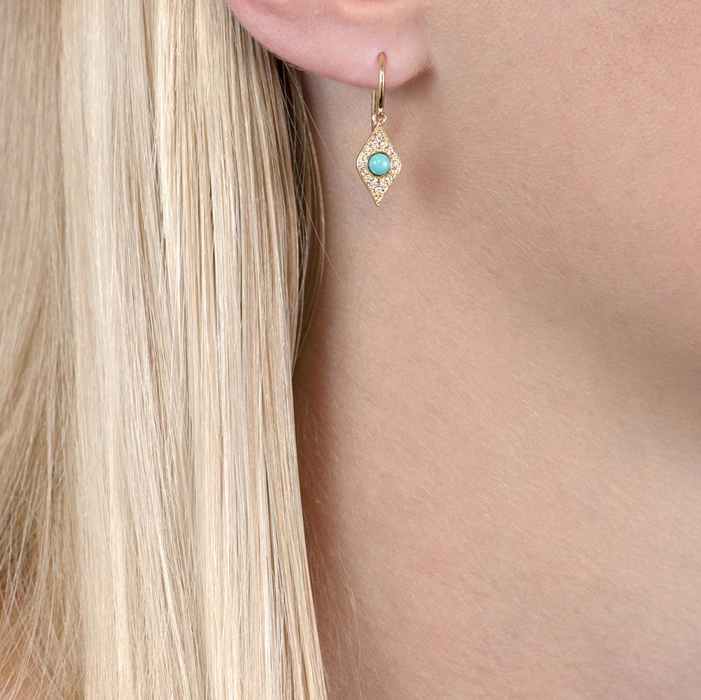 Yellow gold diamond/turquoise evil eye drop earrings