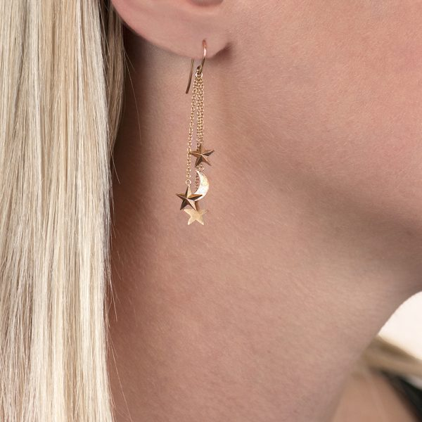 Rose gold moon/stars drop earrings