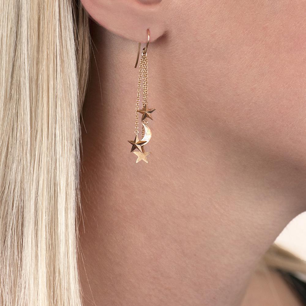 Rose gold moon/stars drop earrings