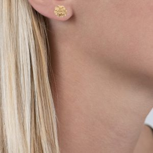 Yellow gold posy cluster flower stud earrings