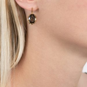 Yellow gold smoky quartz drop cocktail earrings