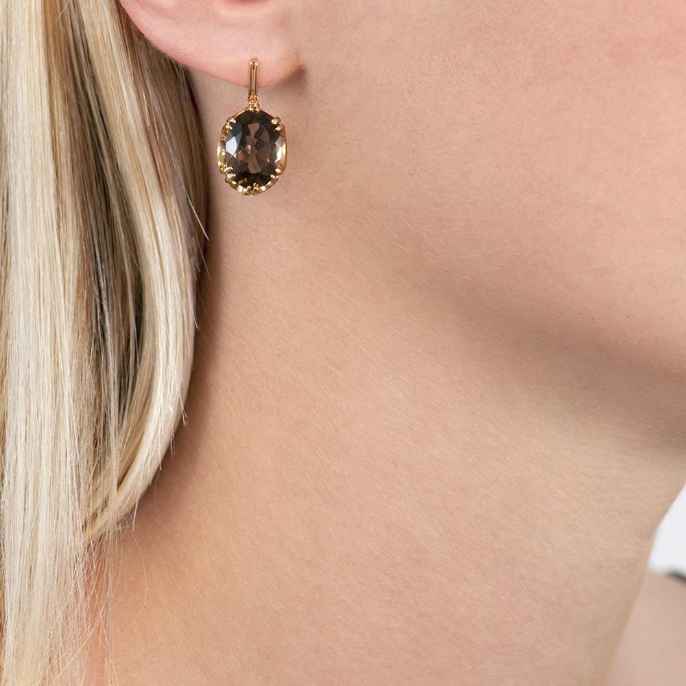 Yellow gold smoky quartz drop cocktail earrings