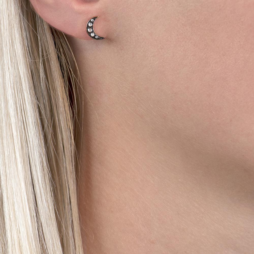 Yellow gold diamond moon stud earrings