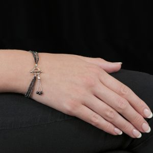 White gold black diamond bead bracelet