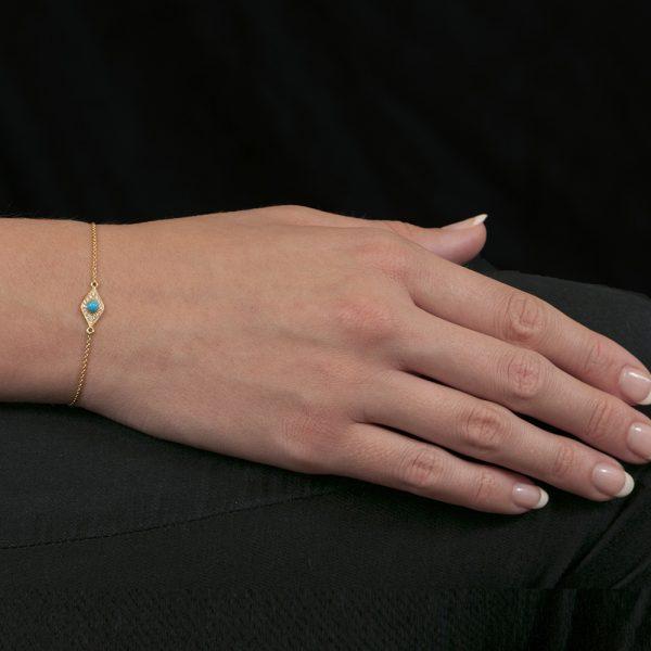 Yellow gold diamond turquoise evil eye bracelet