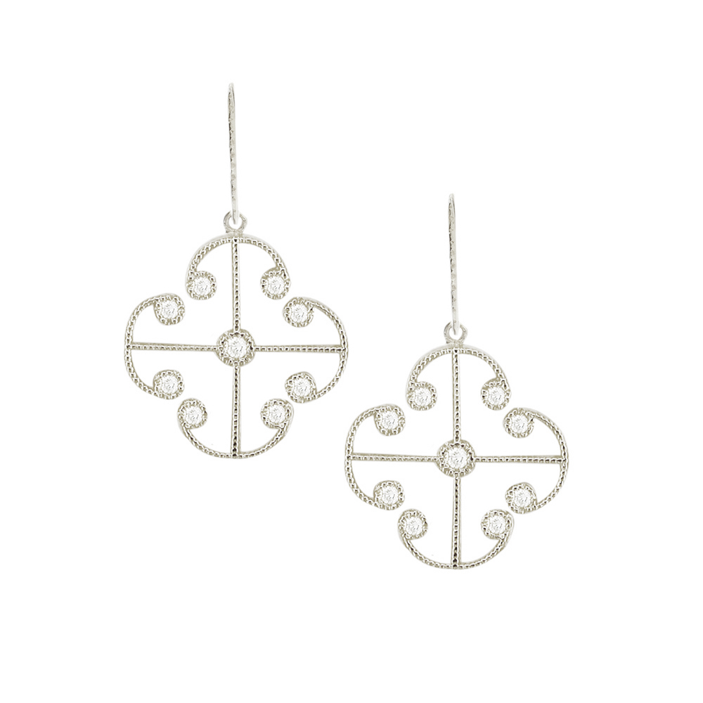Stunning White Gold Brilliant Cut Diamond Lattice Earrings