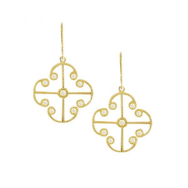 Yellow gold diamond Lattice earrings