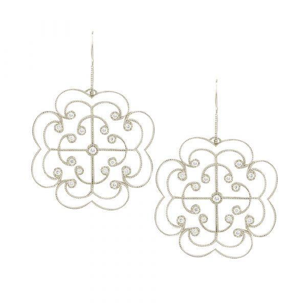 White gold diamond large Lattice earrings