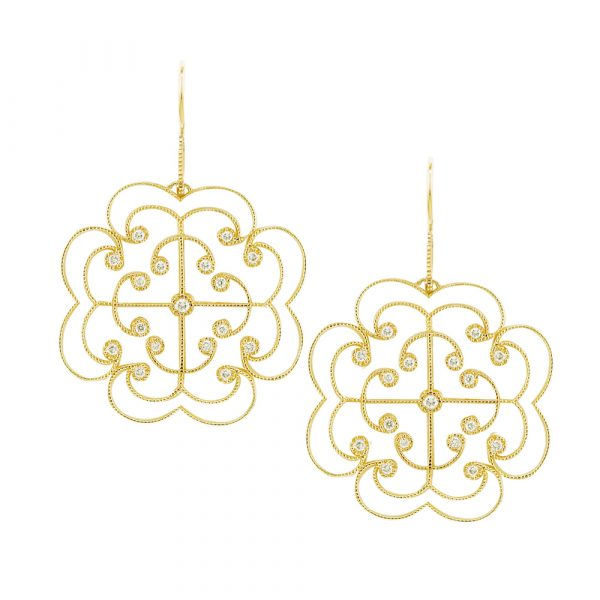 Yellow gold diamond Lattice large earrings
