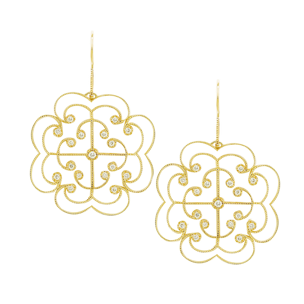 Stunning Yellow Gold Brilliant Cut Diamond Lattice Drop Earrings
