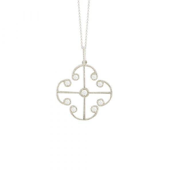 White gold diamond Lattice pendant