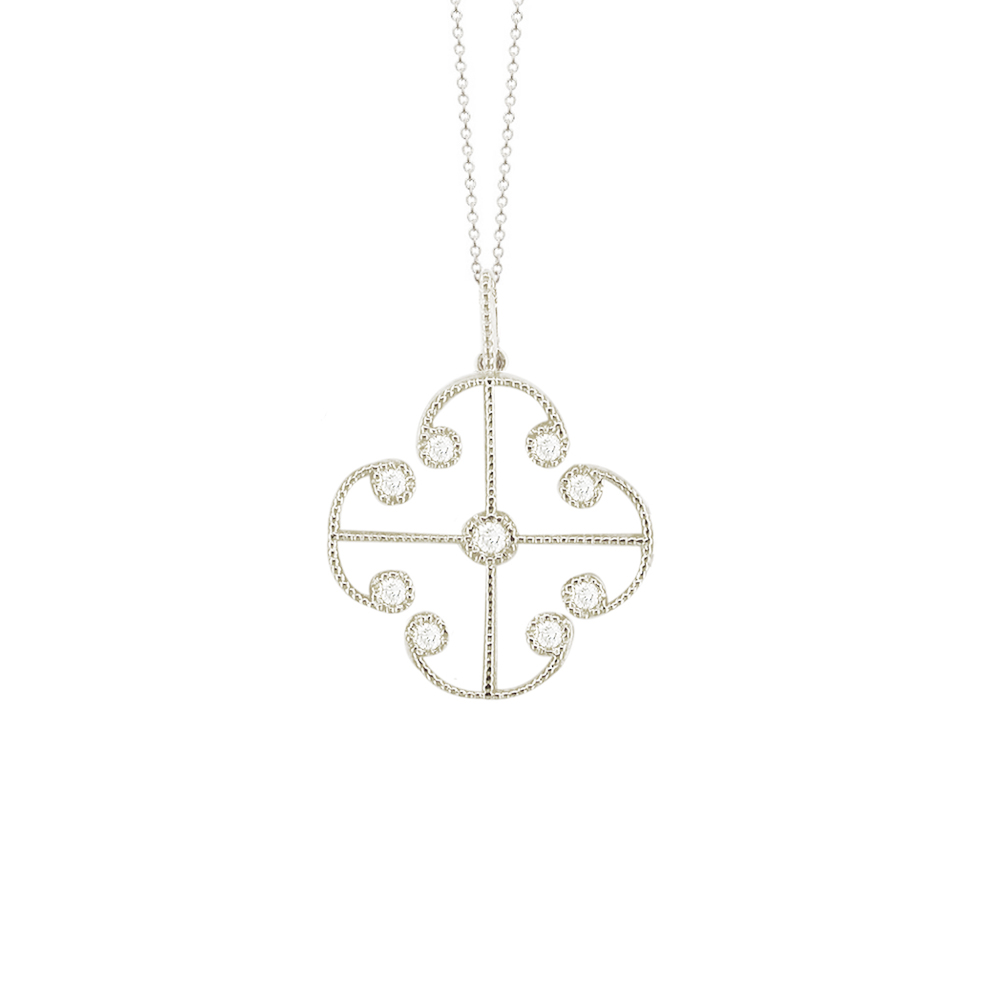 White gold diamond Lattice pendant
