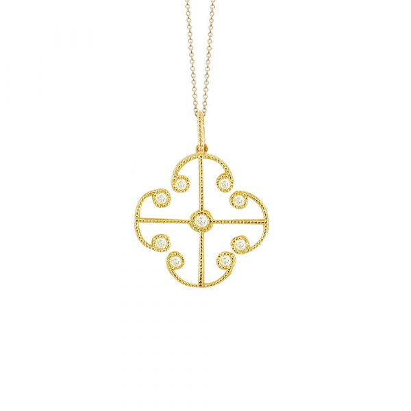 Yellow gold diamond Lattice pendant