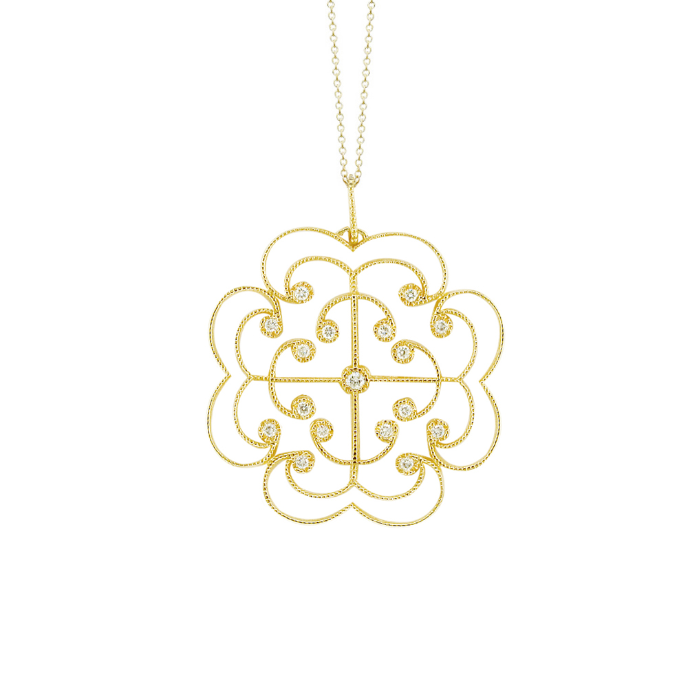 Classic Yellow Gold Brilliant Cut Diamond Large Lattice Pendant Necklace