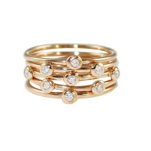 Rose gold diamond five stack rings