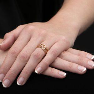 Rose gold diamond 5 stack diamond Raindrop rings