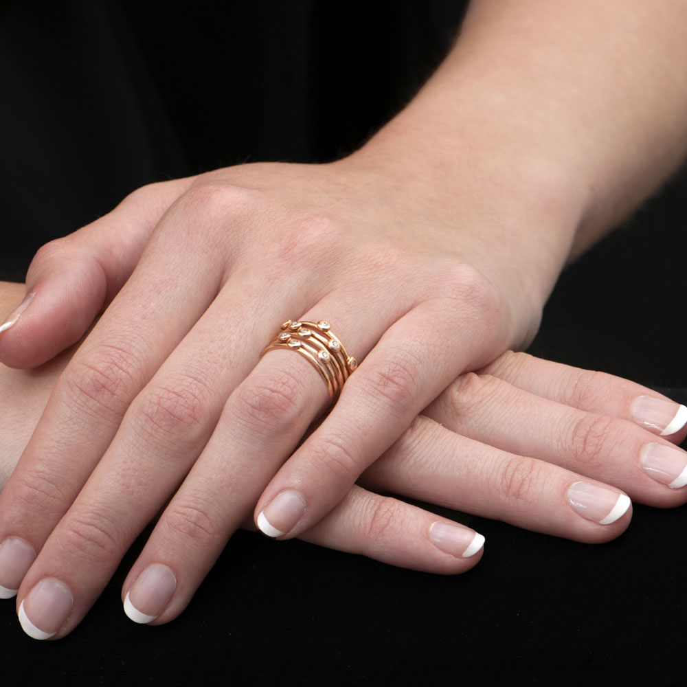 Chic Rose Gold Diamond 5 Raindrop Stack Rings - London Road Jewellery