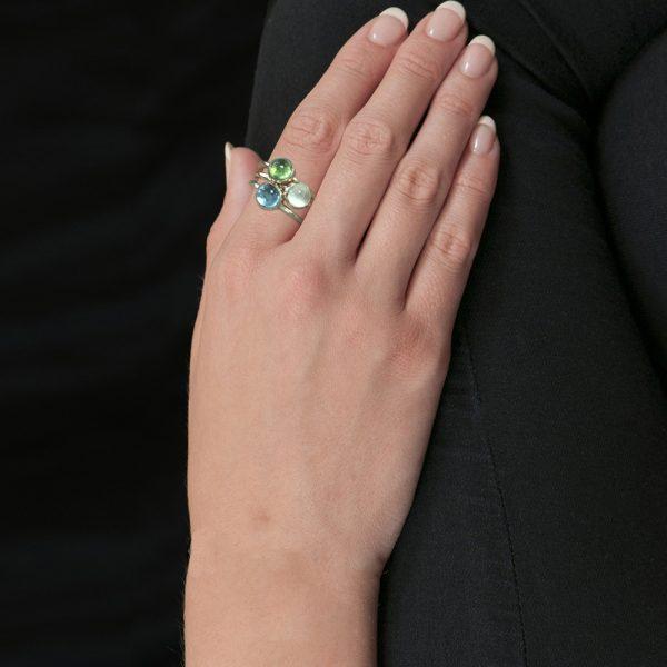 Gold multi gem stack rings