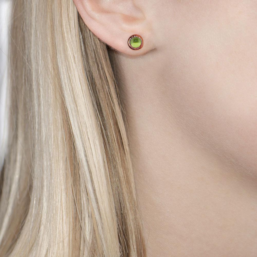 Rose gold peridot Bubble stud earrings