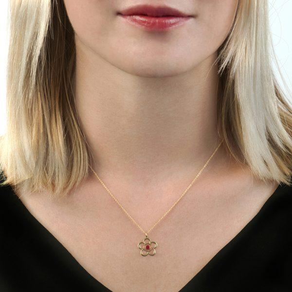 Yellow gold ruby Blossom birthstone pendant