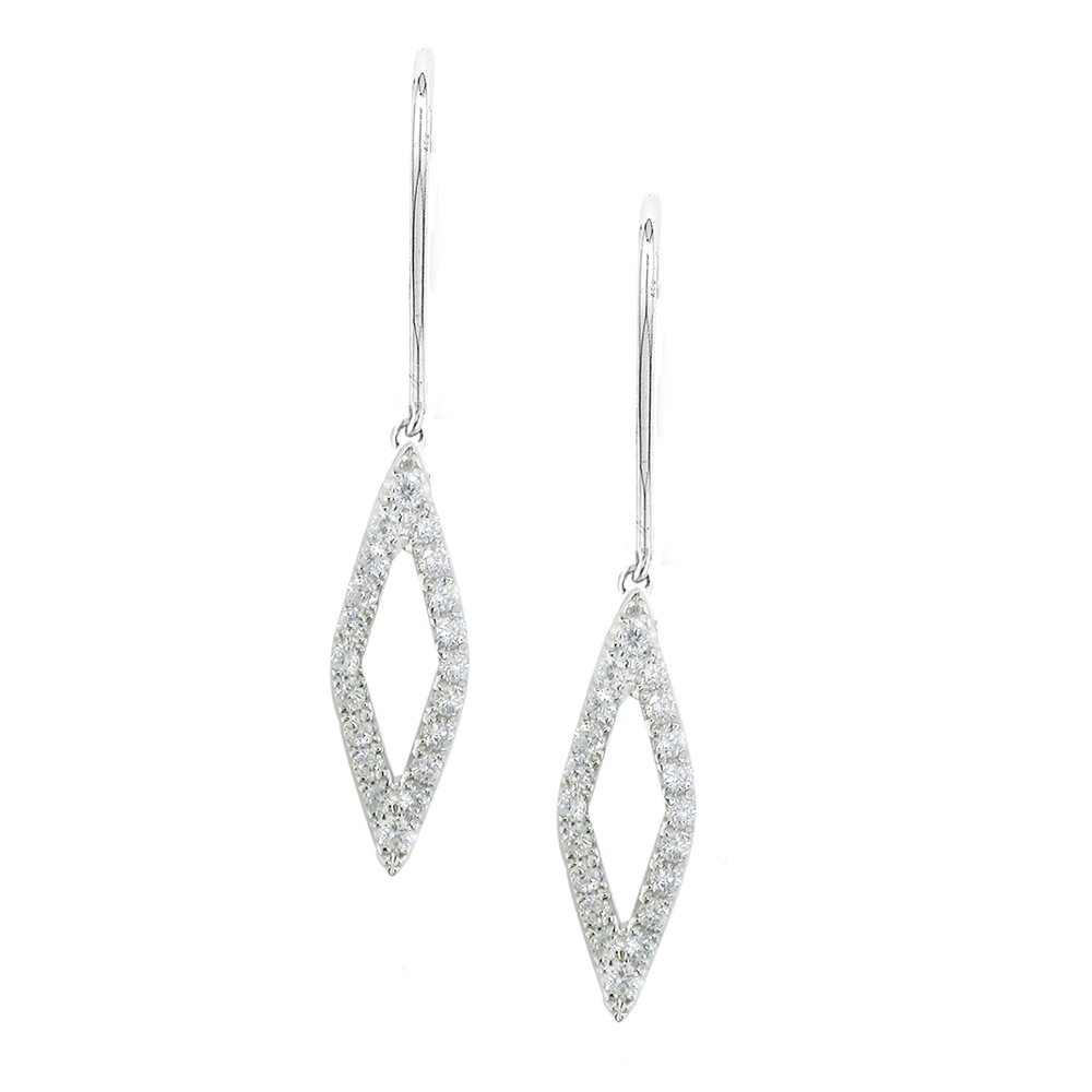 Exclusive White Gold Diamond Drop Geo Earrings