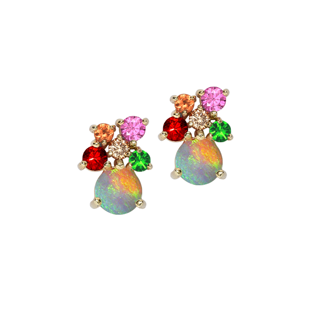 Harlequin Multi Gem Opal Earrings In Yellow Gold
