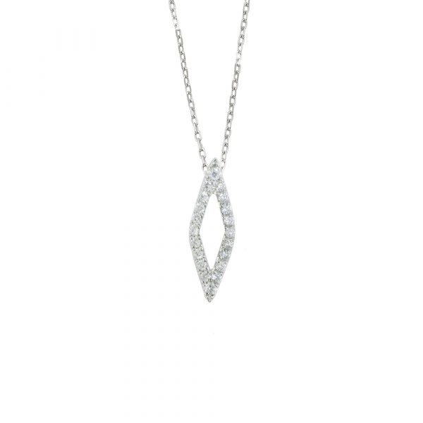 White gold diamond Geo pendant