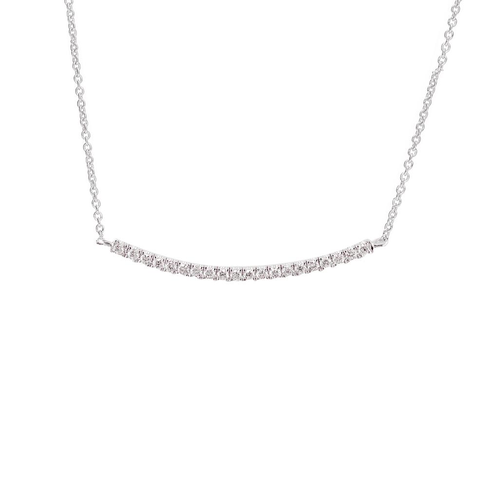 Modern White Gold Diamond Bar Geo Pendant Necklace