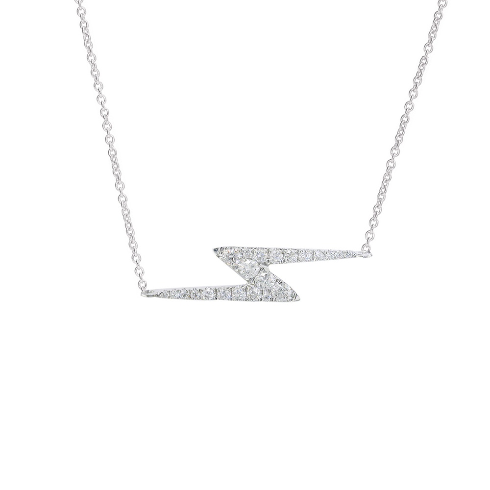White gold diamond zig zag Geo necklace
