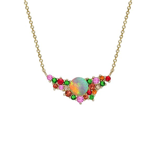Yellow gold opal multi gem Harlequin necklace