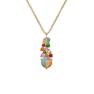Yellow gold opal multi gem Harlequin pendant
