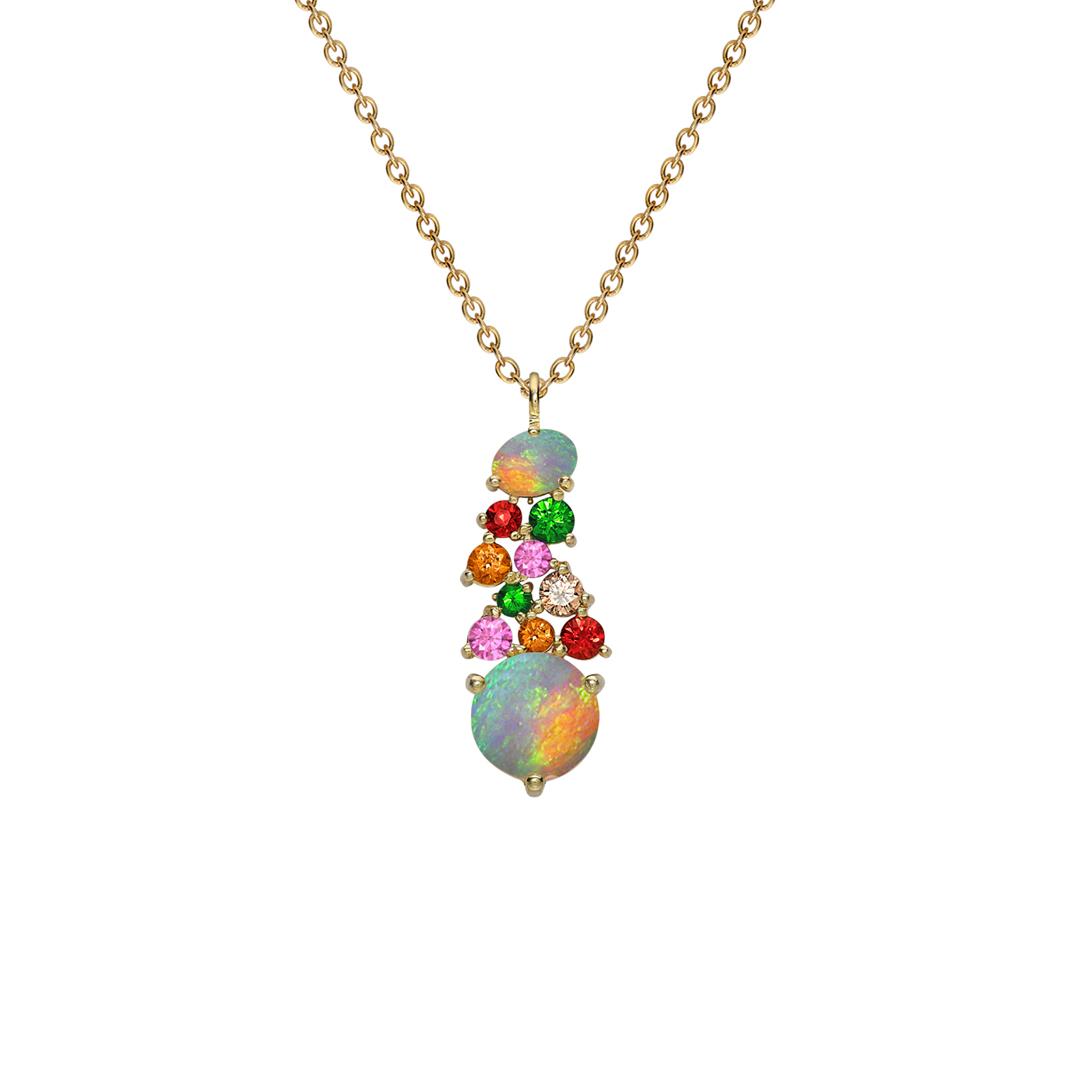 Yellow gold opal multi gem Harlequin pendant
