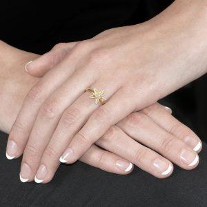 Yellow gold diamond Starflower ring