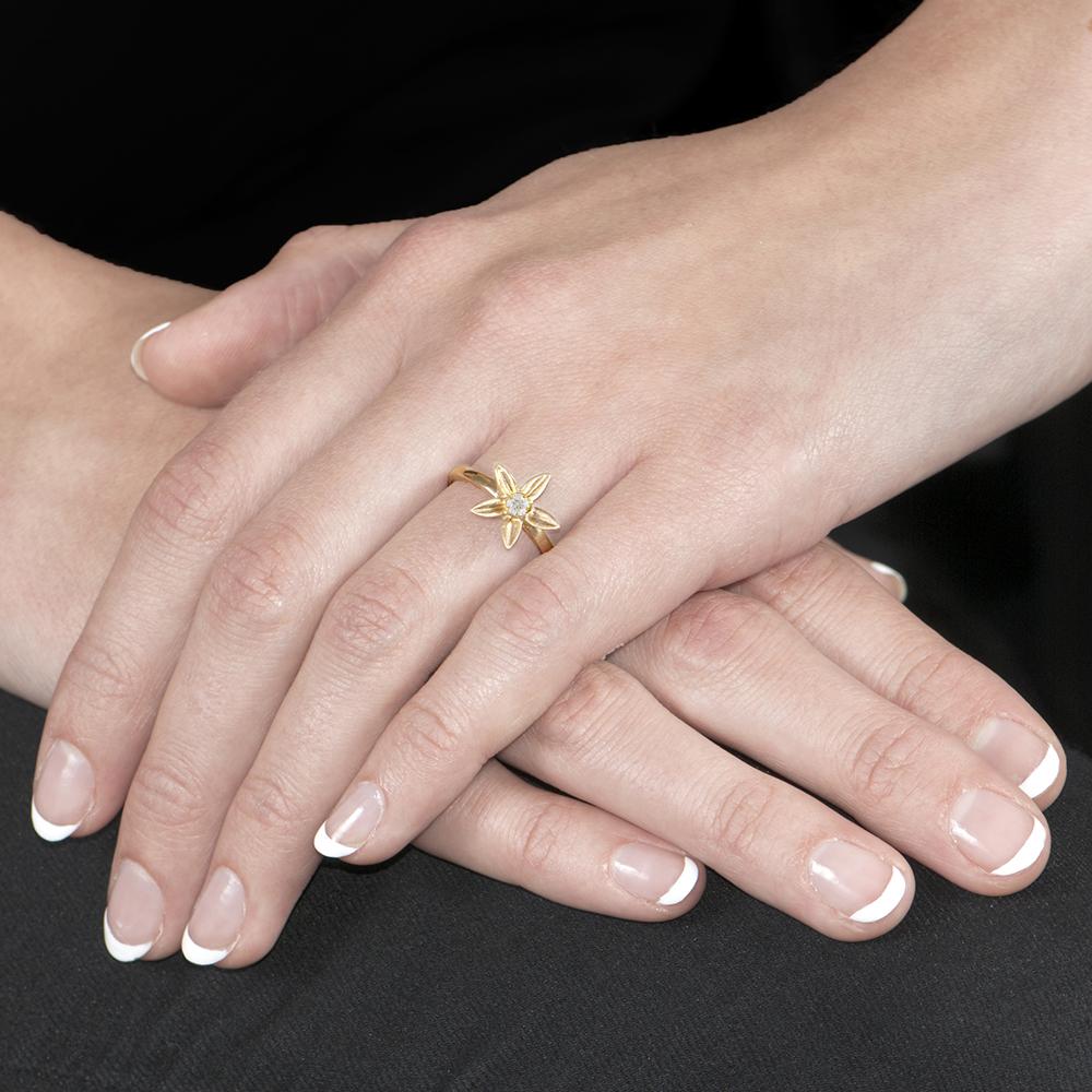 Handmade Yellow Gold Diamond Starflower Ring - London Road Jewellery